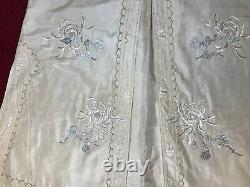Belle Antique / Vintage Robe En Soie Brodée Chinoise Manteau Broderie Fine
