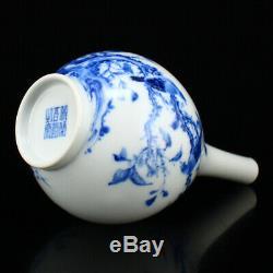 Belle Chinoise Porcelaine Bleue Et Blanche Magpies Vase