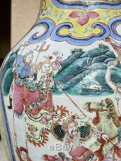 Belle Paire De Antique Chinois C 19 Jaune Jaune Famille Vases Pot Rose 45cm
