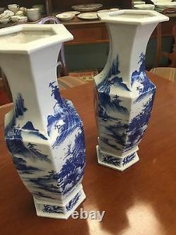 Belle Paire De Vases Antiques En Porcelaine Bleue Et Blanche Chinoise De 19c