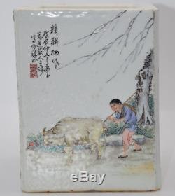 Belle Porcelaine Chinoise Famille Rose Caractères Pinceau Pot Porte-stylo Pastel X100