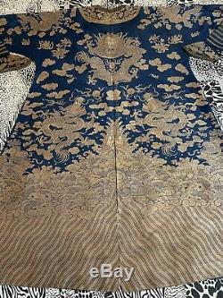 Belle Robe Chinoise En Brocart De Soie De Kesi Avec Brocart De Soie Du Xixe Siècle, Longueur 53x