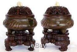 Big 16e-17e Siècle Ming Bronze Chinois Encensoir W. Écriture Arabe Et Xuande Mark