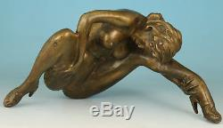 Big Chinese Cuivre Bronze Sexly Her Modern Chaussures À Talons Hauts Figure Statue
