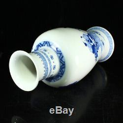 Bleu Et Blanc Superbe Chinois En Porcelaine Figures Vase