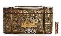 Boîte À Bijoux En Couture En Bois Laqué Doré De 1900