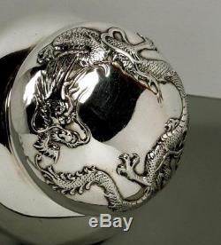 Boîte À Thé En Argent Avec Exportation Chinoise C1890 Luen Hing Dragon Box