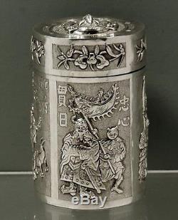 Boîte À Thé En Exportation Chinoise Guerrier, Caligraphie Et scolaires
