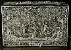 Boîte Chinoise D'argent D'exportation Signée Siam Argent Pur