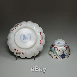 Bol À Thé Et Soucoupe, Famille Verte, Ancien, Kangxi (1662-1722)
