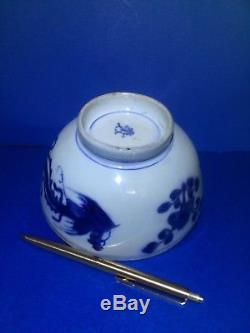 Bol Chinois Antique Kangxi Phoenix, Double Poisson Marqué