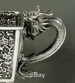 Bol Chinois En Argent À L'exportation C1885 Luenwo Dragons
