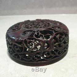 Bonne Période Qing Chinois Vase En Bois Transpercé Bois Sculpté Couvercle Couverture
