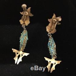 Boucles D'oreilles Antique De La Dynastie Qing Kingfisher