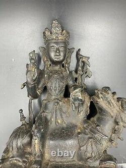 Bouddha Chinois Rare De Bronze Vieux Sur Qilin