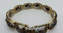 Bracelet Ancien En Émail Chinois Poisson Exportation Argent Vintage Filigrane Violet Bleu