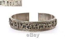Bracelet De Manchette Avec Bracelet En Argent Sterling Des Années 1930, Figurine Mk 60g