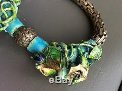 Bracelet En Argent Émaillé Exceptionnel D'exportation Chinoise Antique
