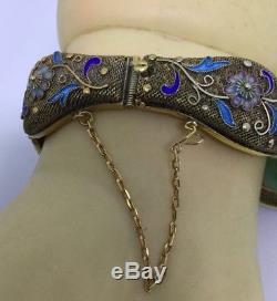 Bracelet En Argent Finement Émaillé Avec Émail De Chine, Jade / Jadéite (c515)