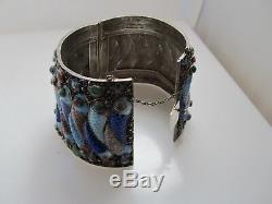 Bracelet En Argent Massif À L'exportation En Émail, Poisson, Jadéite, Tourmaline De Jade, Ancien