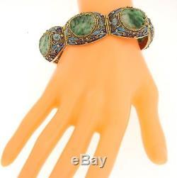 Bracelet Jonc Antique Et Grand Bracelet En Émail Sculpté En Argent Sterling