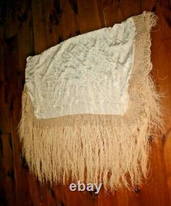Brodé Piano Shawl Antique 1900-1920s Silk Embroidery Chinese Canton #3