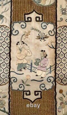 Broderie Encadrée Antique Chinoise De Dynastie De Qing 19ème