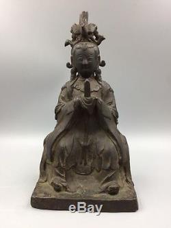Bronze Antique Chinois Figure Immortelle Taoïste Dynastie Des Xiwangmu Ming