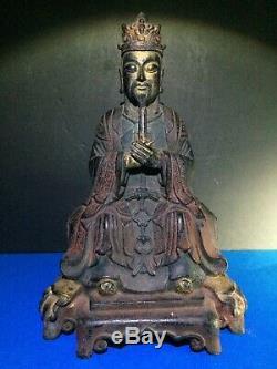 Bronze Antique Chinois Polychrome Figure De Wang Chen, Dynastie Qing