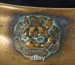 Brûleur D'encens De Masque De Lion Chinois Bronze Tardif Ming / Début Qing Xuande