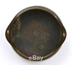 Brûleur D'encens En Bronze Chinois Scholar 19c Xuerande Marquant 1368 Grammes