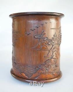 Brushpot De Paysage En Bambou Chinois (bitong), Dynastie Qing (bonhams Provenance)