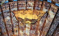 C Merveilleux. 1850 Chinois Tortue Avec Des Bâtons Percés Brise Et D'or Cartouches