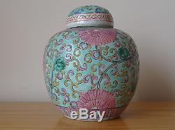 C. Pot À Gingembre Ancien En Porcelaine Rose De Chine Famille Rose