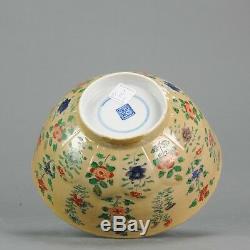 Ca 1700 Kangxi Bol En Porcelaine De Chine Café Au Lait Fleurs Marquées