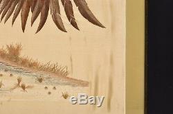 Cadre Chinois Calligraphie En Tissu En Soie De Broderie 2 Coq Pas De Peinture