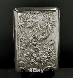 Caisse Chinoise De Cigare D'argent D'exportation C1880 Woshing Figures In Garden
