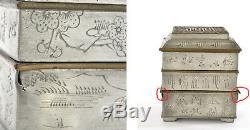 Calligraphie À L'encens En Laiton Étain De Style Chinois Avec Encensoir Des Années 1930