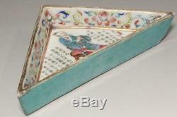 Ccvp47 Plaque De Forme Triangulaire Antique Chinois Jikkinde Dynastie Qing