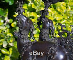 Cerfs Bronze Chinois Qianlong Bougeoirs Bougeoirs Figure Statue Encensoir