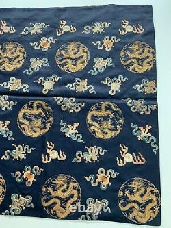 Chine Antique Chinois Mandarin Qing Broderie Textile Dragons Soie 19 C