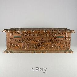 Chine Canton Carved Sandalwood Box & Charniere 19ème Siècle