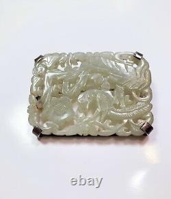 Chinen Antique Pendentif Jade Pendentif Pin Main Sculpté Phoenix Flower Motif