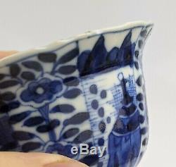 Chinese Antique Blue & Paire En Porcelaine Blanche De Moulé Teabowls Kangxi Marques Qing