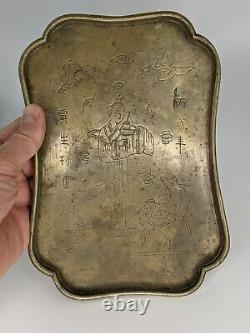 Chinese Antique Brass Opium Tray Conception Figurative & Calligraphie Signé Qing A/f