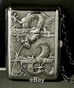 Chinese Export Argent Boîte C1890 Aînés Avec Enfants Et Dragons