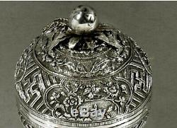Chinese Export Argent Spice Box C1890 Sea Life