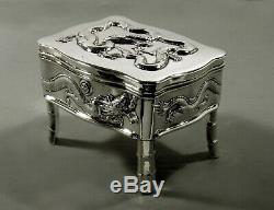 Chinese Export Silver Dragon Box C1890 Hongxing 15 Onces