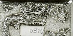 Chinese Export Silver Dragon Box Signé
