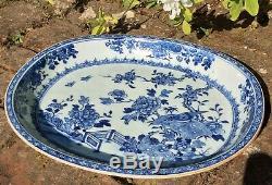 Chinese Grand Antique Porcelaine 18 C 14 Qianlong Chargeur Blue Birds Blanc